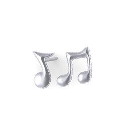 Νεανικά Μοντέρνα Σκουλαρίκια 1104 κολλητά στο αυτί - μουσικές νότες / Ασημένια, χειροποίητα, λευκά επιπλατινωμένα