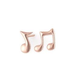 Νεανικά Μοντέρνα Σκουλαρίκια 1104 κολλητά στο αυτί - μουσικές νότες / Ασημένια, χειροποίητα, ροζ επιχρυσωμένα