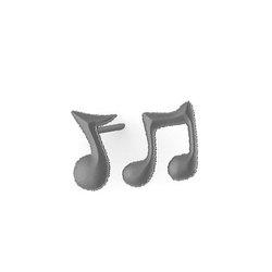 Νεανικά Μοντέρνα Σκουλαρίκια 1104 κολλητά στο αυτί - μουσικές νότες / Ασημένια, χειροποίητα, μαύρα επιροδιωμένα