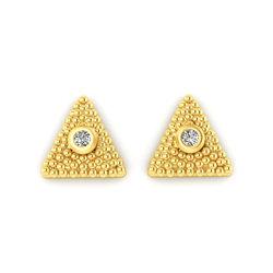 Νεανικά Μοντέρνα Σκουλαρίκια 1122 κολλητά στο αυτί - βυζαντινά τρίγωνα / Ασημένια, χειροποίητα, επιχρυσωμένα