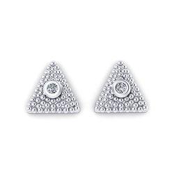 Νεανικά Μοντέρνα Σκουλαρίκια 1122 κολλητά στο αυτί - βυζαντινά τρίγωνα / Ασημένια, χειροποίητα, λευκά επιπλατινωμένα