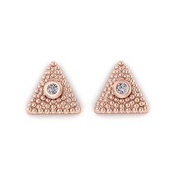 Νεανικά Μοντέρνα Σκουλαρίκια 1122 κολλητά στο αυτί - βυζαντινά τρίγωνα / Ασημένια, χειροποίητα, ροζ επιχρυσωμένα