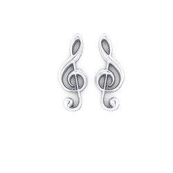 Νεανικά Μοντέρνα Σκουλαρίκια 1124 κολλητά στο αυτί - κλειδί τού Σολ / Ασημένια, χειροποίητα, λευκά επιπλατινωμένα