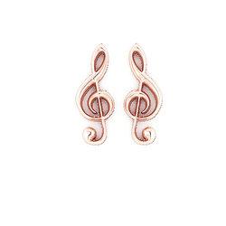 Νεανικά Μοντέρνα Σκουλαρίκια 1124 κολλητά στο αυτί - κλειδί τού Σολ / Ασημένια, χειροποίητα, ροζ επιχρυσωμένα