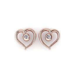 Νεανικά Μοντέρνα Σκουλαρίκια 1025 κολλητά στο αυτί - καρδιές / Ασημένια, χειροποίητα, ροζ επιχρυσωμένα