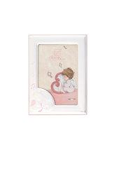 παιδική κορνίζα φωτογραφίας για κοριτσάκια, επάργυρη με ροζ σμάλτο ''αγγελάκι, άρπα, νότες'' / 2ΚΟ0503