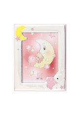 παιδική κορνίζα για κοριτσάκια, ''αρκουδάκι, φεγγάρι, αστέρια'' επάργυρη με ροζ και κίτρινο σμάλτο / 2ΚΟ0513