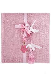 παιδικό άλμπουμ φωτογραφιών, από γυαλιστερή δερματίνη κροκό σε ροζ χρώμα διακοσμημένο με επάργυρο διακοσμητικό μαργαρίτα / 2ΑΛ0062