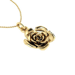 Νεανικό Μικρό Διακριτικό Μενταγιόν 1008 - τριαντάφυλλο / Ασημένιο, χειροποίητο, κίτρινο επιχρυσωμένο
