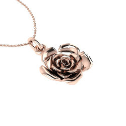 Νεανικό Μικρό Διακριτικό Μενταγιόν 1008 - τριαντάφυλλο / Ασημένιο, χειροποίητο, ροζ επιχρυσωμένο