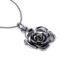 Νεανικό Μικρό Διακριτικό Μενταγιόν 1008 - τριαντάφυλλο / Ασημένιο, χειροποίητο, μαύρο επιροδιωμένο