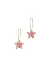 παιδικά σκουλαρίκια, αστεράκια με σμάλτο, σε χρυσό 9 καρατίων / 1SK2207 - κρεμαστά