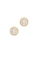 γυναικεία σκουλαρίκια, ροζέτες με μαργαριτάρια και ζιργκόν, σε κίτρινο χρυσό Κ14 / 1SK2202 / 9,70 mm