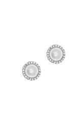 γυναικεία σκουλαρίκια, ροζέτες με μαργαριτάρια και ζιργκόν σε λευκό χρυσό Κ14 / 1SK2203 / 9,70 mm