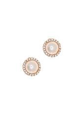 γυναικεία σκουλαρίκια, ροζέτες με μαργαριτάρια και ζιργκόν, σε ροζ χρυσό Κ14 / 1SK2204 / 9,70 mm