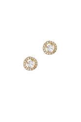 γυναικεία σκουλαρίκια, ροζέτες με ζιργκόν, σε κίτρινο χρυσό Κ14 / 1SK2181 / 7,40 mm)