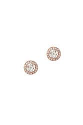 γυναικεία σκουλαρίκια, ροζέτες με ζιργκόν, σε ροζ χρυσό Κ14 / 1SK2191 / 7,40 mm