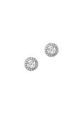 γυναικεία σκουλαρίκια, ροζέτες με ζιργκόν, σε λευκό χρυσό Κ14 / 1SK2192 / 7.40 mm