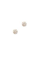 γυναικεία παιδικά σκουλαρίκια, ροζέτες με ζιργκόν, σε χρυσό Κ14 / 1SK2193 / 4.90 mm