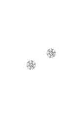 γυναικεία - παιδικά σκουλαρίκια, ροζέτες με ζιργκόν, σε λευκό χρυσό Κ14 / 1SK2194 / 4.90 mm