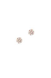 γυναικεία παιδικά σκουλαρίκια, ροζέτες με ζιργκόν, σε ροζ χρυσό Κ14 / 1SK2195 / 4.90 mm