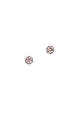 γυναικεία - παιδικά σκουλαρίκια, ροζέτες, με χρωματιστά - μωβ ζιργκόν σε λευκό χρυσό Κ14 / 1SK2200 / 4.80 mm