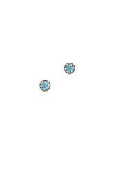 γυναικεία - παιδικά σκουλαρίκια, ροζέτες με χρωματιστά - τυρκουάζ ζιργκόν σε ροζ χρυσό Κ14 / 1SK2201 / 4.80 mm