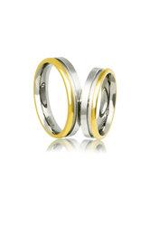 βέρες γάμου - αρραβώνων, από ασήμι επιπλατινωμένο και κίτρινο χρυσό / AC11 / 4.80 mm