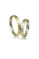 βέρες γάμου - αρραβώνων, από ασήμι, επιπαλατινωμένο και κίτρινο χρυσό / AS33 / 3.50 mm