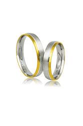 βέρες γάμου - αρραβώνων, από ασήμι επιπλατινωμένο και κίτρινο χρυσό / AS34 logo / 4.50 mm