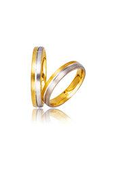 βέρες γάμου - αρραβώνων, δίχρωμες, σε χρυσό και λευκό χρυσό Κ9 ή Κ14 / 730 / 4,00 mm