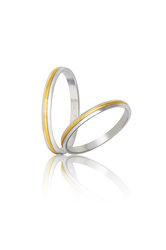 βέρες γάμου - αρραβώνων, δίχρωμες, σε χρυσό και λευκό χρυσό Κ9 ή Κ14 / S47 / 2.50 mm