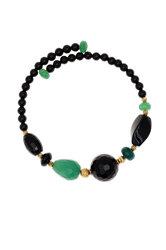 γυναικείο βραχιόλι, ελασματικό, με μαύρους και πράσινους αχάτες και ασημένια επίχρυσα στοιχεία / 2BR0054