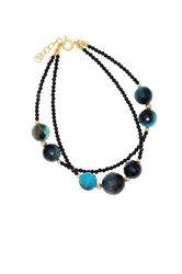 γυναικείο βραχιόλι, δίσειρο, με μαύρους αχάτες και ενισχυμένα quartz πετρόλ, ασημένια επίχρυσα στοιχεία και αλυσίδα αυξομείωσης 3 cm  / 2BR0122 logo