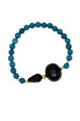 γυναικείο βραχιόλι, ελαστικό, με ενισχυμένο quartz petrol  αχάτη μαύρο και ασημένια επίχρυσα στοιχεία / 2BR0130