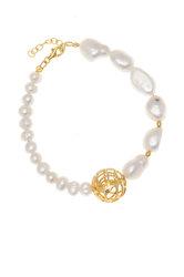 γυναικείο βραχιόλι, ελαστικό, με shell pearl και ασημένια επίχρυσα στοιχεία / 2BR0061 logo