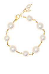 γυναικείο βραχιόλι με μαργαριτάρια shell pearl και ασημένια επίχρυσα κούμπωμα και στοιχεία / 2BR0160