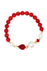 γυναικείο βραχιόλι, ελαστικό, με κοράλο oil - dyed, shell pearl, μαργαριτάρια fresh water biwa και ασημένια επίχρυσα στοιχεία / 2BR0075