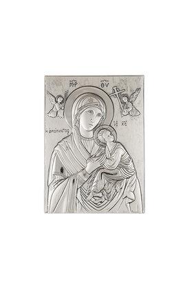 θρησκευτική ορθόδοξη εικόνα πίστης Παναγία Αμόλυντος, ανάγλυφη, σε ασήμι 925' / 2ΕΙ0133 / 130 x 180 mm