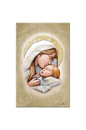 εικόνα Παναγία Γλυκοφιλούσα, ανάγλυφη, ζωγραφισμένη σε ξύλο, με ασήμι / 2ΕΙ0203