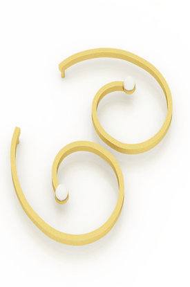 Κρεμαστά Σκουλαρίκια αρχαϊκής τεχνοτροπίας 2 / Ασημένια, χειροποίητα, επιχρυσωμένα με μαργαριτάρια