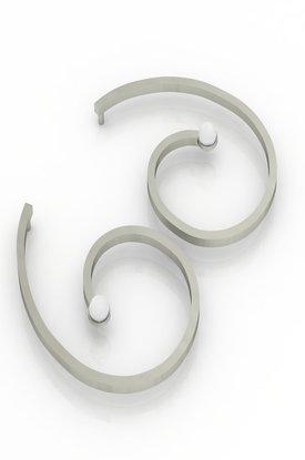 Κρεμαστά Σκουλαρίκια αρχαϊκής τεχνοτροπίας 2 / Ασημένια, χειροποίητα, επιπλατινωμένα με μαργαριτάρια