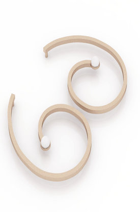 Κρεμαστά Σκουλαρίκια αρχαϊκής τεχνοτροπίας 2 / Ασημένια, χειροποίητα, ροζ επιχρυσωμένα με μαργαριτάρια