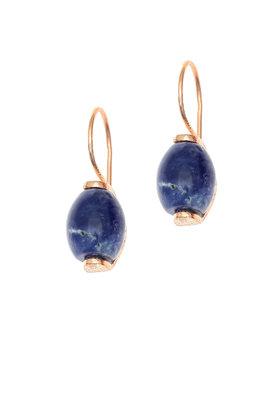 γυναικεία, κρεμαστά σκουλαρίκια, με μπλε αχάτες, χειροποίητα, σε ασήμι 925', επιχρυσωμένα με ροζ χρύσωμα / 2SK0253