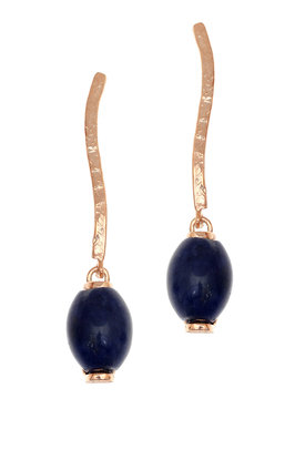 γυναικεία, κρεμαστά σκουλαρίκια, με μπλε αχάτες, χειροποίητα, σε ασήμι 925', επιχρυσωμένα με ροζ χρύσωμα / 2SK0256