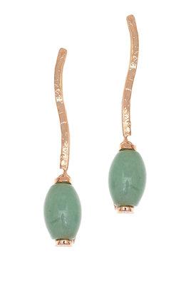 γυναικεία, κρεμαστά σκουλαρίκια, με πράσινο αβεντουρίνη, χειροποίητα, σε ασήμι 925', επιχρυσωμένα με ροζ χρύσωμα / 2SK0254