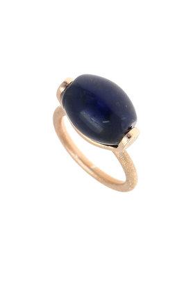 γυναικείο δαχτυλίδι, με μπλε αχάτη, χειροποίητο, σε ασήμι 925', επιχρυσωμένο με ροζ χρύσωμα / 2DA0295