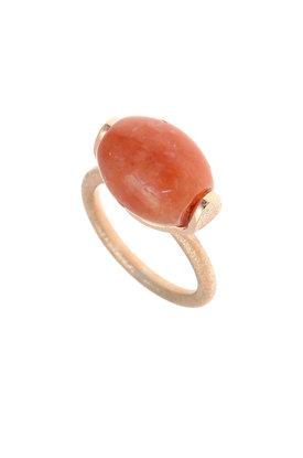 γυναικείο δαχτυλίδι. με κορνεόλη, χειροποίητο, σε ασήμι 925', επιχρυσωμένο με ροζ χρύσωμα / 2DA0294