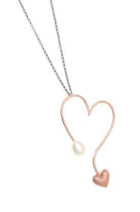 γυναικείο μενταγιόν, σε σχήμα καρδιάς, με μαργαριτάρι, σε ασήμι 925' και ροζ χρύσωμα, με αλυσίδα / 2KO0400