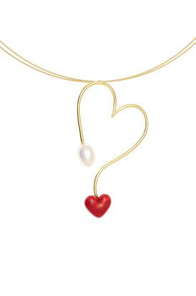 γυναικείο μενταγιόν σε σχήμα καρδιάς, με μαργαριτάρι και καρδιά με κόκκινο σμάλτο, σε ασήμι 925' με τσόκερ / 2KO0397 - λεπτομέρεια
